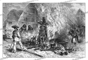 cremation of a roucouyenne indian, french guiana, e´douard riou, 1883