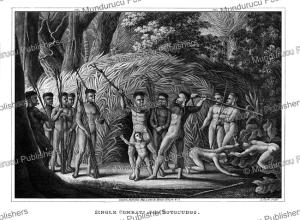 botocudo indians in combat, prinz zu wied-neuwied, 1821