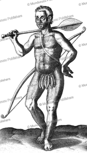 tupinamba´ warrior with war club, brazil, claude d'abbeville, 1614