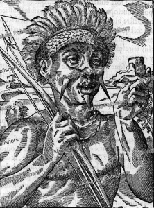 king of the tupinamba´ cannibals, brazil, andre´ thevet, 1575