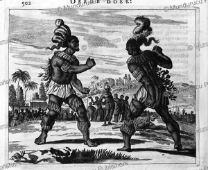 boxing duel between tupi men at the time of the conquest, brazil, arnoldus montanus, 1671