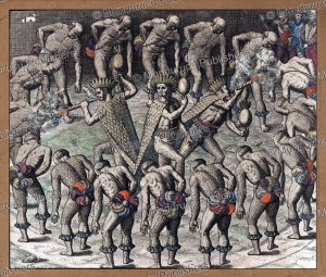 tupinamba´ wizards dressed in feathers and fumigating the dancing indians around them, brazil, theodoor de bry, 1592