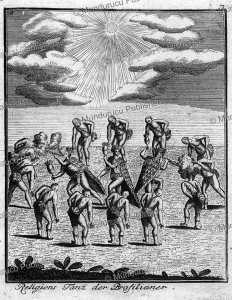 Tupinamba´ wizards dressed in feathers and fumigating the dancing indians around them, Brazil, after Theodoor de Bry, 1777 | Photos and Images | Travel