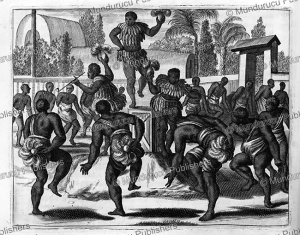 war-dance of tupi men at the time of the conquest, brazil, arnoldus montanus, 1671