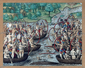 Tupinamba´ fighting a canoe battle, Brazil, Theodoor de Bry, 15934 | Photos and Images | Travel