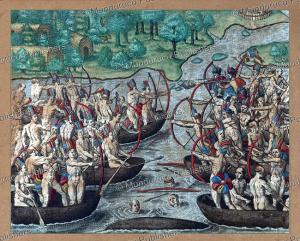 tupinamba´ fighting a canoe battle, brazil, theodoor de bry, 15934