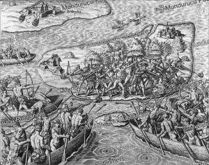 tupinamba´ indians attacking portuguese settlements, brazil, theodoor de bry 1557