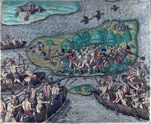 tupinamba´ indians, attack european settlement, brazil, theodoor de bry, 1593