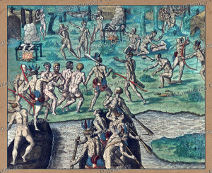 tupinamba´ indians kill and devour portuguese prisoners, brazil, theodoor de bry, 1593
