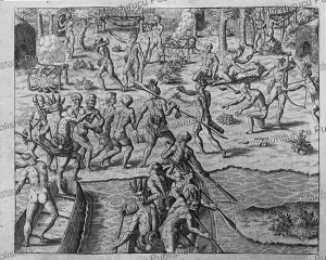portugese prisoners killed and eaten by tupinamba´ indians, brazil, theodoor de bry, c. 1580