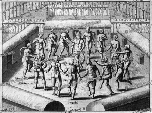 tupinamba´ women dancing around the prisoner who will be put to death, brazil, theodoor de bry, 1557