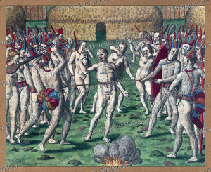 the ritual execution of a prisoner, tupinamba´, brazil, theodoor de bry, 1593