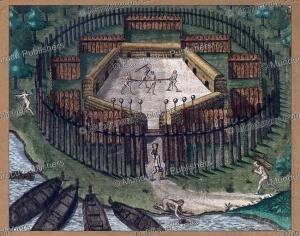 execution in a tupinamba´ village, brazil, theodoor de bry, 1593