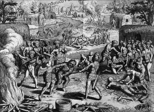 tupinamba´ executing and devouring prisoners, brazil, theodoor de bry, 1557