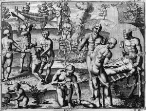 Killing of a Tupinamba´ slave who spoke ill of Hans von Staden, Brazil, Theodoor de Bry 1557 | Photos and Images | Travel
