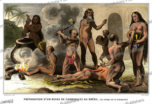 Cannibals in Brazil preparing a meal, Brazil, Demoraine, 1844 | Photos and Images | Travel