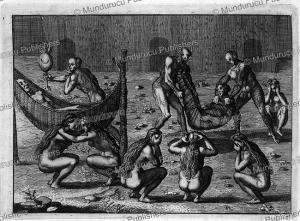 tupinamba funeral ritual, brazil, theodoor de bry, 1557
