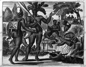 tupinamba cannibals at the time of the conquest, brazil, arnoldus montanus, 1671