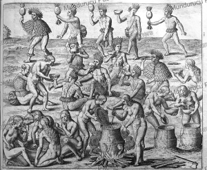 Tupinamba Indians eating and dancing, Brazil, Theodoor de Bry, 1613 | Photos and Images | Travel