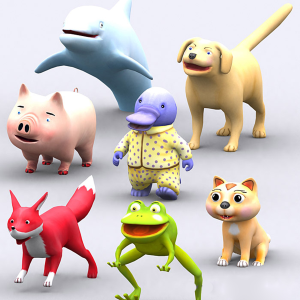 toonpets 7 animals animated 3d pack