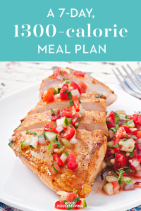 a 7-day, 1,300-calorie diet plan, weight loss menu