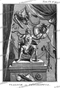 aztec god tlaloch or tescalipuca, bernard picart, 1735