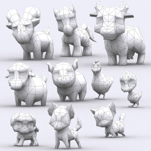 chibii animals lowpoly 3d animated pack