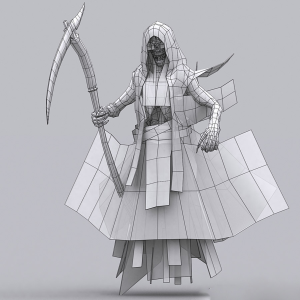 grim reaper animated lowpoly 3d model