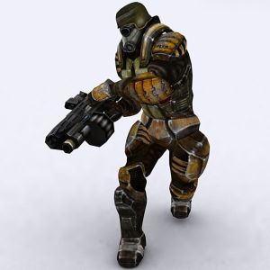 fully rigged and animated sci-fi elite trooper male model 3d
