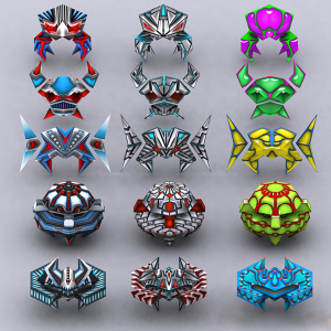 Galaxian - space invaders animated 3d models pack | Photos and Images | Children
