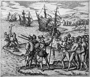 Christopher Columbus's arrival in the New World (Hispaniola), Theodor de Bry, 1594 | Photos and Images | Travel