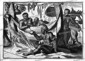 natives of paria discovered by columbus in 1498, arnoldus montanus, 1671