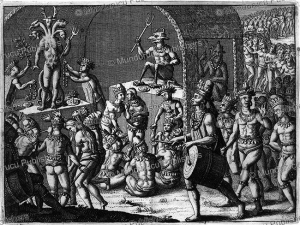 Native Americans feasting and worshipping an idol, Theodoor de Bry, 1704 | Photos and Images | Travel