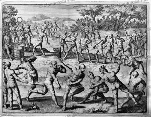 native americans dancing, nicaragua, pieter van der aa, 1706