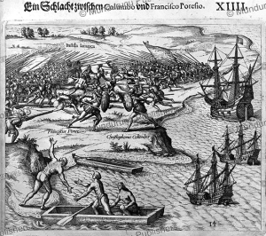 a battle between columbus and francisco poresio, jamaica, theodor de bry, 1594