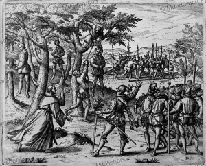 Columbus hanging mutinous Spaniards in Hispaniola, Theodor de Bry, 1594 | Photos and Images | Travel