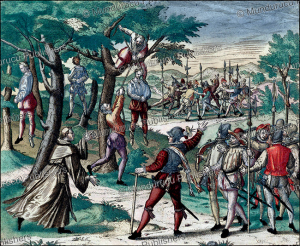 columbus hanging mutinous spaniards in hispaniola, theodor de bry, 1594