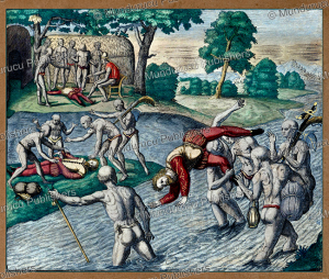native americans drowning spaniards to test whether they are human, puerto rico, theodoor de bry, 1594