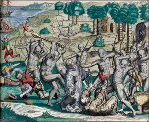 native americans killing spanish monks at cuman (venuzuela), theodor de bry, 1594