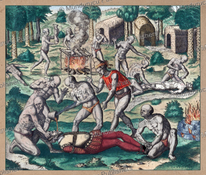 native americans pour molten gold down the throats of spaniards, panama, theodoor de bry, 1594