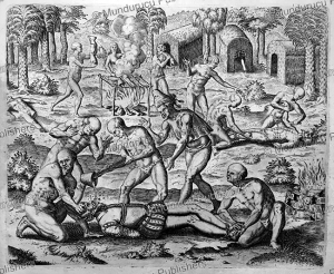 native americans pour molten gold down the throats of spaniards, panama, theodoor de bry, 1613