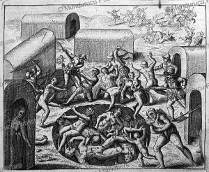 Spaniards driving villagers in a pit with spikes at the time of the conquest, Guatemala, Bartholome de las Casas, 1596 | Photos and Images | Travel