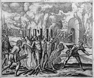 Spaniards burn hundreds men at the stake, New Spain (Mexico) in 1518, Jodocus van Winghe, 1598 | Photos and Images | Travel