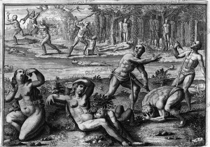 native americans committing suicide to avoid spanish brutalities, haiti, theodoor de bry, c. 1550
