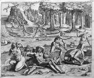 native americans committing suicide to avoid spanish brutalities, theodor de bry, 1594
