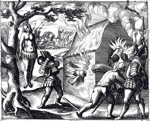 queen anacaona of hispaniola hung by the spaniards, jodocus van winghe, 1598