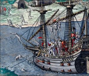 Spaniards hanging American natives as revenge near Cumana (Venezuela), Theodor de Bry, 1594 | Photos and Images | Travel