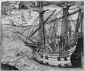 Spanish soldiers hanging American natives as revenge near Cumana (Venezuela), Theodor de Bry, 1594 | Photos and Images | Travel