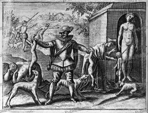 Spaniards hang women and children and feed them to the dogs, New Spain (Mexico) in 1518, Jodocus van Winghe, 1598 | Photos and Images | Travel