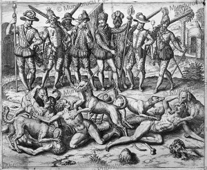 Vasco Nun~ez de Balboa throwing sodomites to the dogs, Panama, Theodor de Bry, 1594 | Photos and Images | Travel